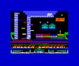 Roller Coaster ZX Spectrum Opening screen, with moving platforms over the waterfall