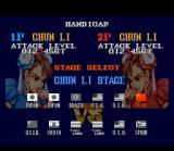Street Fighter II SNES Configuring a VS. match: decrease (or increase) the damage level and choose one of the 12 stages available to battle.