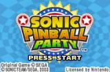 Sonic Pinball Party Game Boy Advance Title screen.
