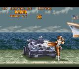 Street Fighter II Turbo SNES Bonus game: using her Lightning Kicks, Chun-Li have some seconds to break the car and increase her score.