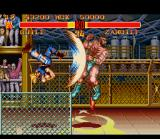 Street Fighter II Turbo SNES Guile and his classic anti-aerial move Flash Kick.