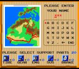 Victory Run TurboGrafx-16 Enter your name, and select support parts.