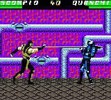 Mortal Kombat 4 Game Boy Color Scorpion's harpoon catches its next victim: Quan-Chi!