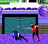 "Mortal Kombat 4 Game Boy Color Sub-Zero uses his long sweep to avoid Reiko's ""spikes""."