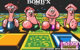 Bomb'X DOS Title screen with our four ugly protagonists blocking a gentler, more 16-colour environment (16 colours)
