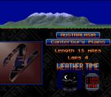 Top Gear 2 SNES A brief course status is displayed in this screen, that is full of information