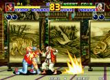 Fatal Fury 2 Neo Geo Terry Bogard attempts to hit Jubei Yamada with a Power Wave, but the move does not connect, as Yamada avoids it in the nick of time.
