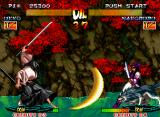 Samurai Shodown III: Blades of Blood Neo Geo Ukyo (BUST version) launches a moon shaped projectile; only rest to Nakoruru (BUST version too) block it and think in a counter-attack.