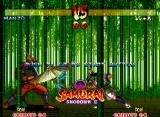 Samurai Shodown III: Blades of Blood Neo Geo In Demonstration Mode, Shizumaru throws his umbrella in Hanzo, trying cause some damage in the ninja.