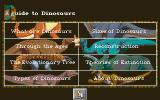 DinoPark Tycoon DOS Main menu of the Guide to Dinosaurs