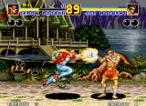 Fatal Fury 2 Neo Geo Time is crucial. Will Joe Higashi be able to avoid getting hit by Terry Bogard's Burn Knuckle, or will he fall victim to its great power?
