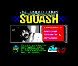 Jahangir Khan World Championship Squash ZX Spectrum Title and language-selection screen