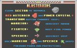 Blasteroids Atari ST Game information screen