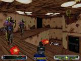 CyberMage: Darklight Awakening DOS Surrounded by group of three cyborgs