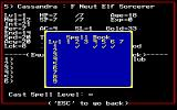 Might and Magic II: Gates to Another World DOS Character screen w/spellbook