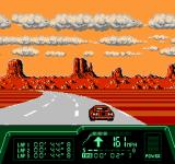 Rad Racer II NES There are many sharp turns in this desert canyon...