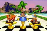 Crash Nitro Kart Game Boy Advance The podium shows the current winners.