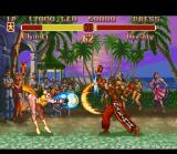Super Street Fighter II SNES Fighting in Jamaica: Chun-Li makes a Kikouken and Dee Jay strikes back with a Max Out.