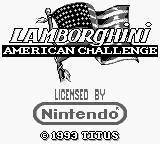 Lamborghini: American Challenge Game Boy Title screen.