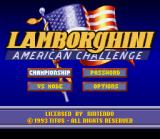 Lamborghini: American Challenge SNES US Title Screen