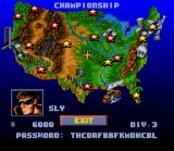 Lamborghini: American Challenge SNES U.S.A map showing the available tracks (yellow stars) and the locked ones (red stars).