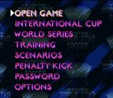 International Superstar Soccer SNES Main menu.