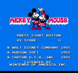 Mickey Mousecapade NES Title screen
