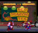 Double Dragon V: The Shadow Falls SNES Battle outside of Red Dragon Tea building
