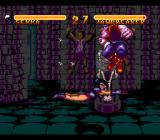 Double Dragon V: The Shadow Falls SNES The skeleton watches closely. Shadow Dungeon battle