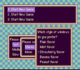 EarthBound SNES Options menu