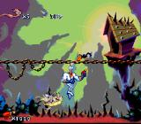 Earthworm Jim SNES Jim is attacked from below