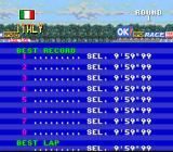 F1ROC: Race of Champions SNES High scores table. Hmm... better luck next time?