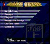 Frank Thomas Big Hurt Baseball SNES Main menu