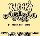 Kirby's Pinball Land Game Boy Title Screen