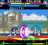 SNK vs. Capcom: The Match of the Millennium Neo Geo Pocket Color By Sakura's hands, a Shinkuu Hadou-Ken directs to a knocked-down recovered Felicia.