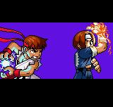 "SNK vs. Capcom: The Match of the Millennium Neo Geo Pocket Color Introduction frame – Ryu and Kyo Kusanagi in a ""final battle""."