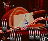 Earthworm Jim 2 SNES How many sharp yokes! Can Jim escape from this menace?