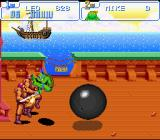 Teenage Mutant Ninja Turtles: Turtles in Time SNES While fighting some Stone Warriors, the ship in the background fires some over-sized cannonballs at leo
