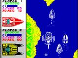 Pro Powerboat Simulator ZX Spectrum Fast and bombs throwing chopper approached