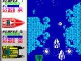 Pro Powerboat Simulator ZX Spectrum Near the fuel canister with enemy boat behind
