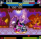 SNK vs. Capcom: The Match of the Millennium Neo Geo Pocket Color Morrigan connects her impactive air throw in Kyo.