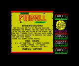 Advanced Pinball Simulator ZX Spectrum Game instructions