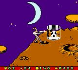 Earthworm Jim: Menace 2 the Galaxy Game Boy Color If you find some radioactive containers, shoot'em to prevent possible damages in your energy bar!