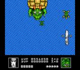 Silver Surfer NES Battle with a giant turtle and his smaller turtle spawn.