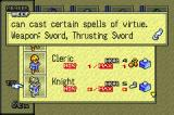 Tactics Ogre: The Knight of Lodis Game Boy Advance ... call up information on classes, items, spells etc.