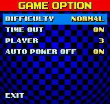 Sonic The Hedgehog Pocket Adventure Neo Geo Pocket Color Options menu.