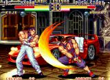 Art of Fighting 2 Neo Geo Eiji Kisaragi's Kasumi Kiri forces the rich guy Robert to block quickly.