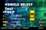 Midnight Club: Street Racing Game Boy Advance Car selection screen (some vehicles are locked too).