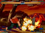 The Last Blade 2 Neo Geo Juzoh stomps the ground and the enemies with his Happa move.