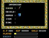 Ys: The Vanished Omens MSX Inventory screen